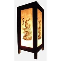 Thai Vintage Handmade Asian Oriental Elephant Bedside Table Light or Floor Wood Paper Lamp Shades Home Bedroom Garden Decor Modern Design from Thailand