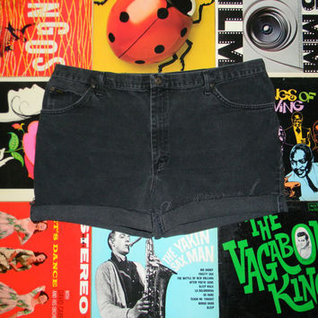 Vintage Denim Shorts, 90s LEE High Waisted Stone Washed Black Jean Cut Offs - Cut Off, Frayed, Rolled Up, PLUS Size 20 ooak, Plus Sized XXL