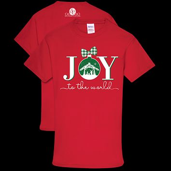 Southern Couture Preppy Joy to the World Holiday T-Shirt