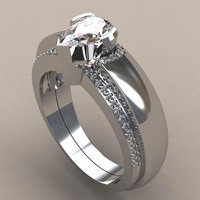 Modyle New 2pcs/set Waterdrop Wedding Ring Set Pear Cut Cubic Zironia Micro Pave Engagement Ring for Woman