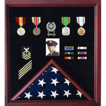 4 x 6 Flag Display Case Combination For Medals and Photos