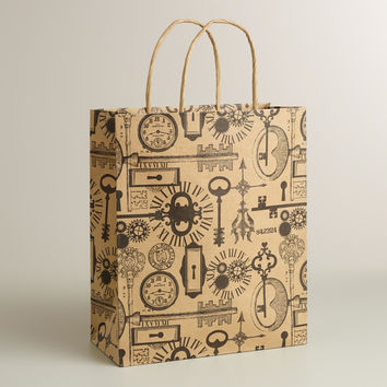 Large Skeleton Keys Kraft Gift Bag - World Market