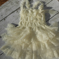 Ivory lace Dress with bow on shoulder, Lace Flower girl dress ,Baby Lace Dress,Lace Dress, Ivory Lace dress