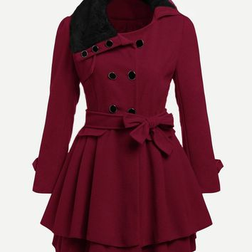 Burgundy Faux Fur Collar Double Layered Trench Coat