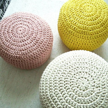 Yellow Ottoman Pouf - Yellow Lemon Nursery Footstool Pouf - Kids Knit Beanbag Chairs - Crochet Floor Cushions - Babyroom