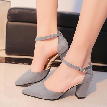 Ankle strap solid color chunky heel closed toe suede pumps ~ 4 colors!