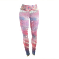 "Infinite Spray Art ""Cascade Swirl"" Red Pink Yoga Leggings"