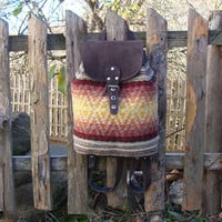Ladies backpack, leather backpack with handwoven wool fabric, suede leather backpack, handmade unique backpack