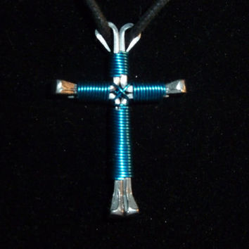 Cross Pendant, Horseshoe nail Cross, Jewelry, wire wrapped jewelry, handmade nail cross, gift for men, gift for women, unisex jewelry