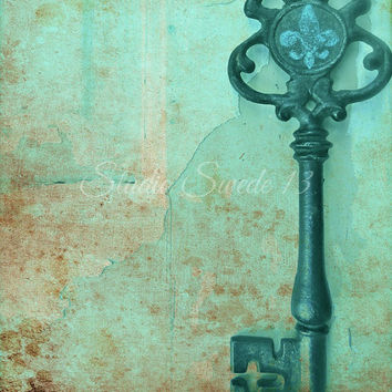 Key Photography, Still Life Photography, Old Key, Fleur De Lis, Rustic Art, Skeleton Key, Farmhouse, Home Decor, Turquoise Art, Shabby Chic