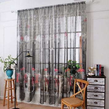Bicycle Print Tulle Door Window Curtain Drape Panel Sheer Scarf  Valances rideaux pour le salon