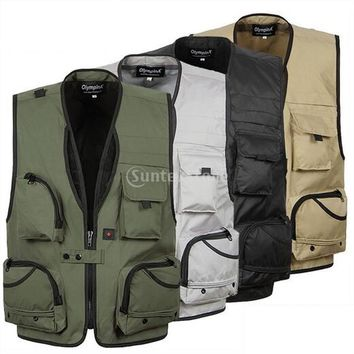 Spring Autumn Men's Multi Pocket Fly Fishing Mesh Vest Outdoor Photography Hunting Travel Jacket Quick-Dry Waistcoat XL-5XL