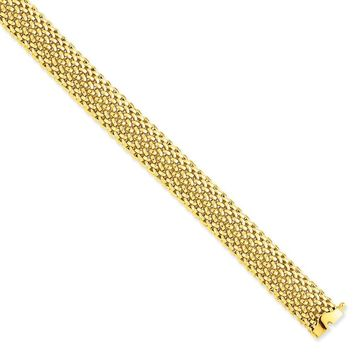 14k Yellow Gold 12.5mm Polished Mesh Bracelet