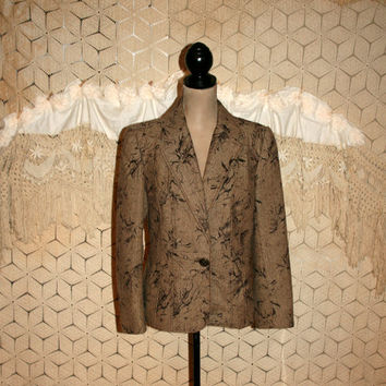 Brown Tweed Jacket Women Blazer Jackets Large Size 12 Jacket Wool Blend Herringbone Tweed Flocked Print Coldwater Creek Womens Clothing