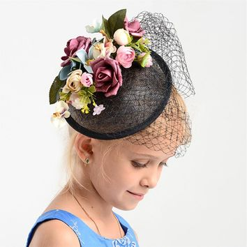 Charm Black Wedding Flower Fascinator Hat Women Linen Hair Ornaments Headpiece Bridal Wedding Floral Fascinator Accessories Gift
