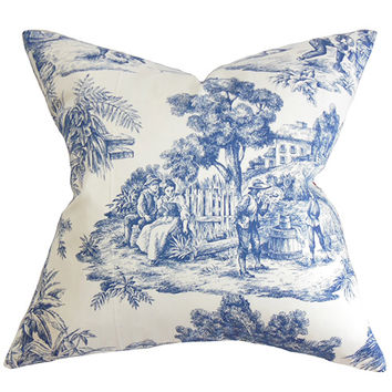 The Pillow Collection P18-ERNESTTOILE-BLUE-C100 Evlia Blue 18 x 18 Toile Throw Pillow