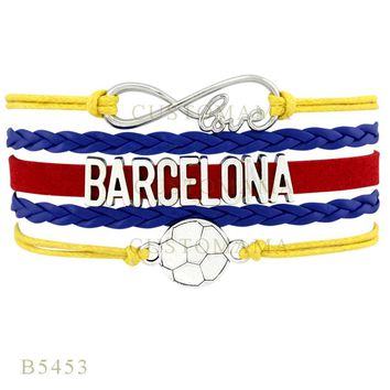 Custom-Infinity Love Barcelona Soccer Football Charm Bracelets  Gifts Bracelet Yellow Blue Leather  Men Bracelets