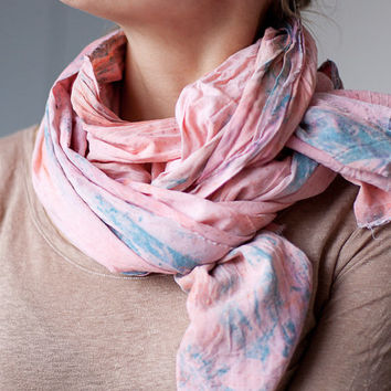 Long Pastel Scarf Hand dyed Coral Pink and Light Blue blush blossom coral pastel peach