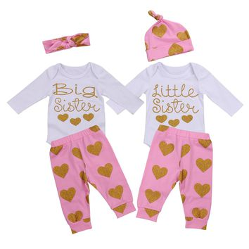 3PS Newborn Kids Baby Girls Outfit Clothes Sets Jumpsuit Bodysuit Hat Tops Long Sleeve Pants Casual Set Girl