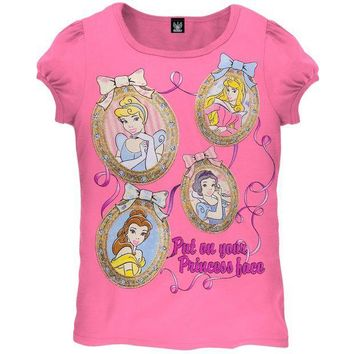 ICIK8UT Disney Princesses Face Frame Juvy Girls T-Shirt