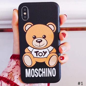 Moschino Tide brand bear iPhone7plus leather couple phone case protector #1