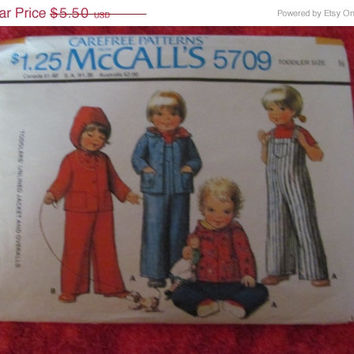 Spring Fever Sale 1970's McCall's Sewing Pattern, 5709! Toddler Size 1/2, Kids, Children, Overalls, jacket, Coat, Unlined