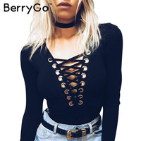 BerryGo Cross lace up jumpsuit romper women Autumn winter knitted bandage bodysuit overalls Sexy v neck playsuit leotard