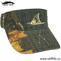 Skiff Life Mossy Oak Camo Visor Redfish Tail Gold