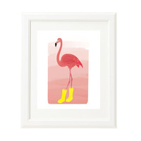 Flamingo Art Print - Original Illustration - Children's Art - Nursery Art