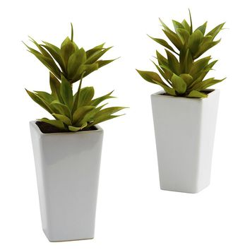 Silk Flowers -Double Mini Agave With Planter -Set Of 2 Artificial Plant