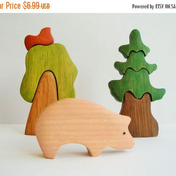 ON SALE Farm Animals Pig Educational toy Miniature animal figurines Montessori Waldorf nature table Handmade Toy for boys Learning toy