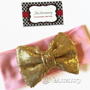Big Sequin Bow Headband,  Gold Sparkle Bow head Wrap, Bow Turban Headband, Girls Headband, Bight Pink Headband