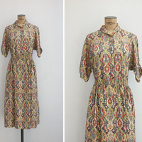 1950s Dress - Vintage 50s Silk Patterned Dress - Gabbeh Dress