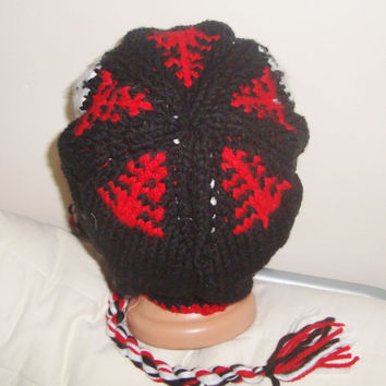 Winter Mens Hat - Red, Black, White Horse Design Hat with Earflap, Hand Knit for Fishing, Hiking, Rider Hat