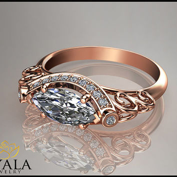 14K Rose Gold Marquise Diamond Ring,Unique engagement ring,Halo Ring,Promise Rings,Art Deco Engagment Rings,anniversary ring,Vintage Ring.
