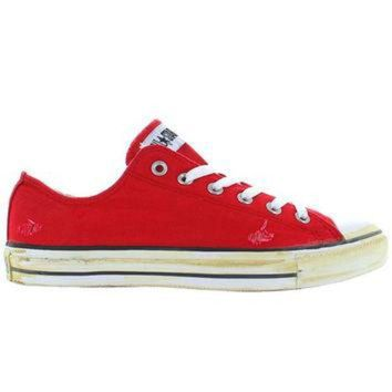 CREYUG7 Converse All-Star Chuck Taylor Rummage Ox - Red Frayed Canvas Low Top Sneaker