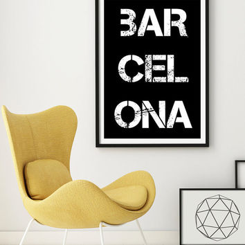 Typographic Art BARCELONA Letterpress Wall Art  Inspirational Quote Home Decor  Black And White Print Typographic PRINTABLE Minimalist