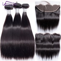 Lemoda Straight Hair Bundles With Frontal Peruvian Human Hair Bundles With Closure Remy Hair Extensions Frontal With Bundles