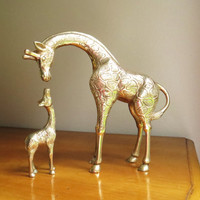 Vintage Brass Giraffes and Baby Giraffe Figurines, Mother and Baby Giraffe, Brass African Animal Statues, Pair