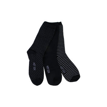 Three Pairs of Pin Dot Crew Socks in Black