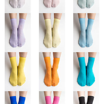 Women New Hezwagarcia 12 Colors Lot Basic Essential Pastel Vivid Black White Colors Polyester Spandex Socks Stocking Hosiery