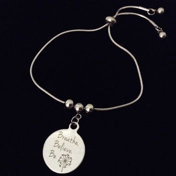 Breathe Believe Be Adjustable Bolo Bracelet Stainless Steel Adjustable Bracelet Slider Charm Bracelet Dandelion Gift One Size Fits All