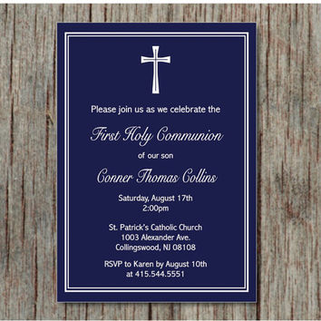Baptism Communion Christening Dedication Invite Baby Boy Printable Invitation Instant Download Navy Blue 5x7 - 001