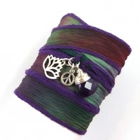 Silk Wrap Bracelet with Lotus Flower, Peace Sign, and Amethyst