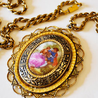 Antique Necklace porcelain and gilded metal