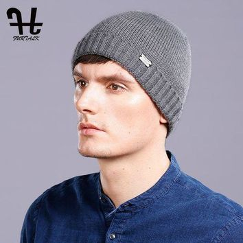DCCK1IN FURTALK 100% Wool Knitted Cashmere Men Winter Hat Knit Skullies Beanies Hats Male HTWL093