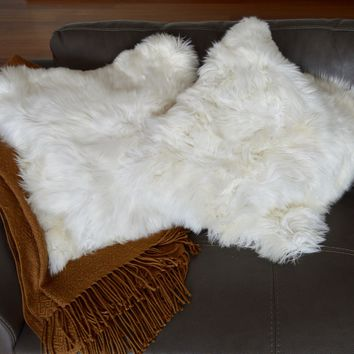 "2-Pc. Set of Premium handmade Baby Alpaca Fur, 2 sided White pillow covers. 20""x20""."