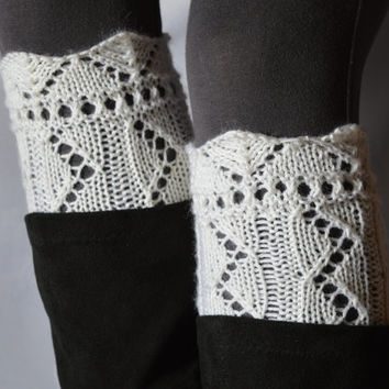 Lace boot cuffs white hand knitted boot toppers boho gift under 25 Choose your color Made to Order