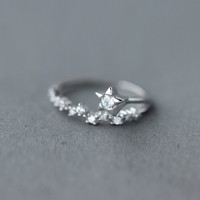 Fashion zircon star 925 Sterling Silver ring, a perfect gift