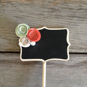 Coral, Mint & Cream - paper flowers and pearls standing mini chalkboard signs: wedding table numbers, dessert food labels, baby shower party